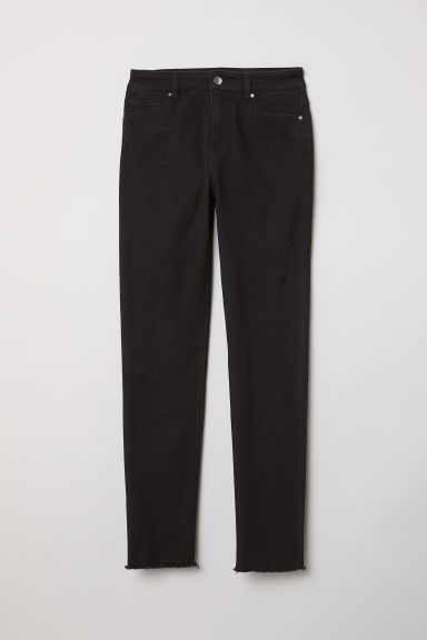 Trousers Skinny fit - Black/Trashed - Ladies | H&M