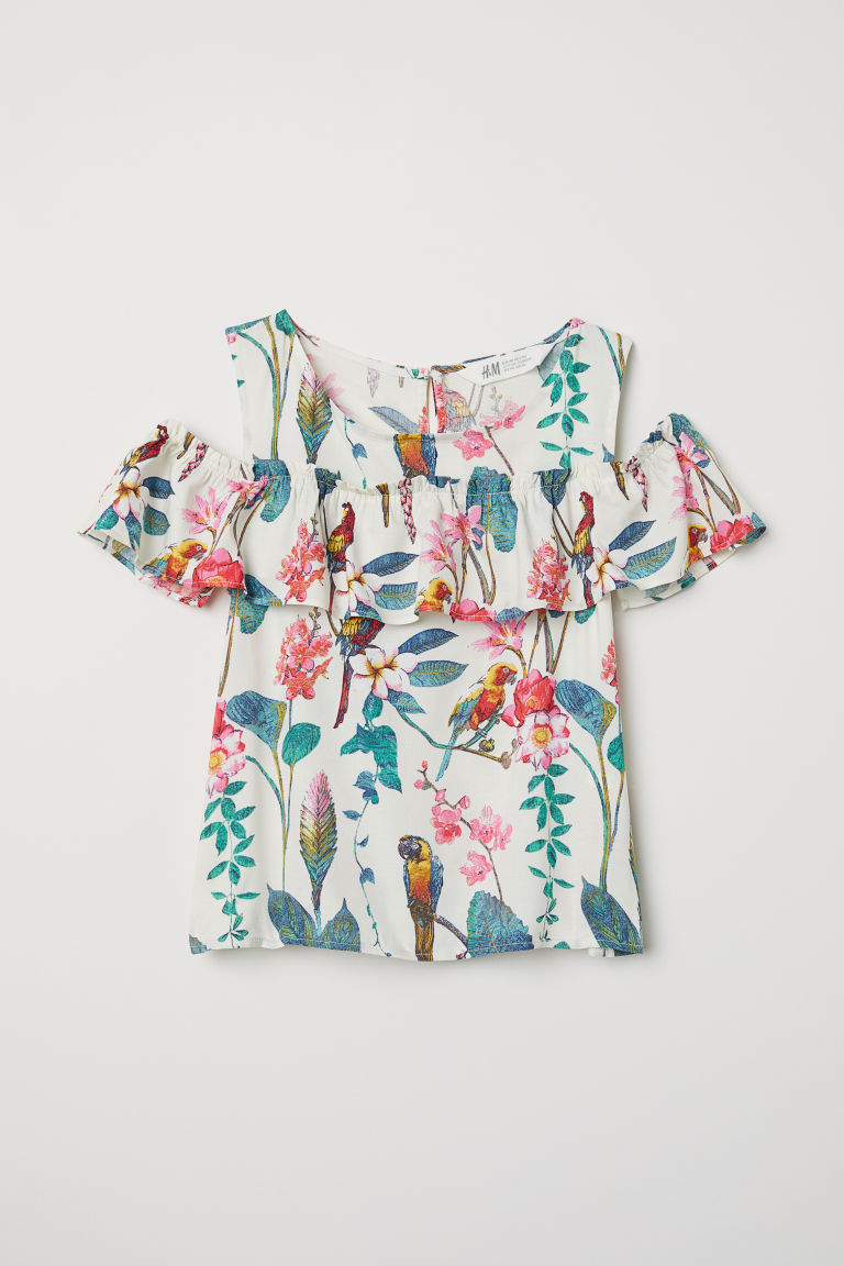 Cold-shouldertop - Gebroken wit/dessin - KINDEREN | H&M BE