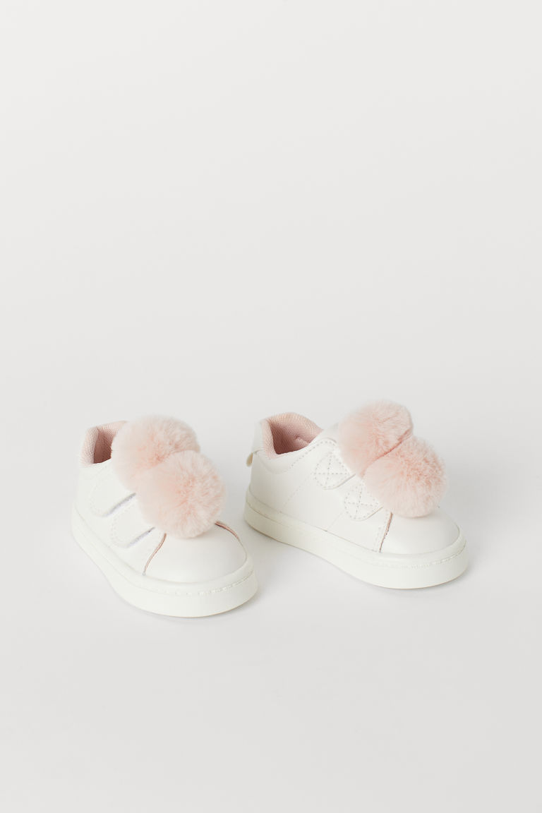Trainers with pompoms - White/Light pink - Kids | H&M CN