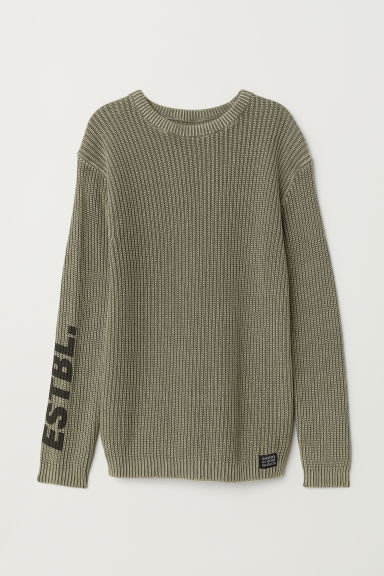 Ribbed cotton jumper - Khaki green - Kids | H&M