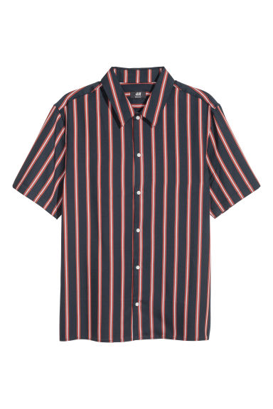 Lyocell shirt Regular fit - Dark blue/Rust striped - Men | H&M