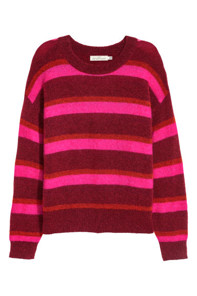 Fine-knit, wool-blend jumper - Red/Striped -  | H&M