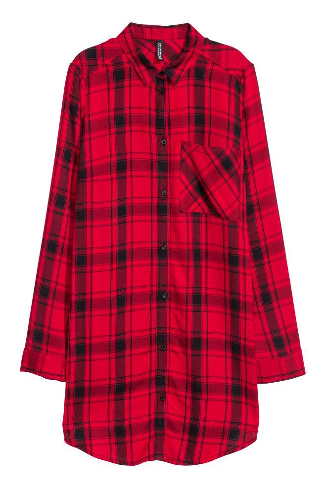 ac75d3b8f74c46 Długa koszula z wiskozy - Czerwony/Czarna krata -   H&M ...