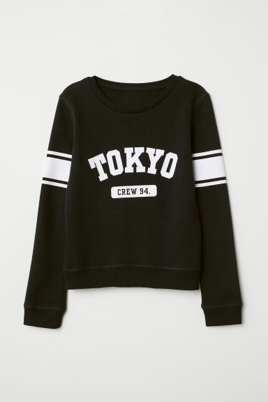Printed sweatshirt - Black - Kids | H&M