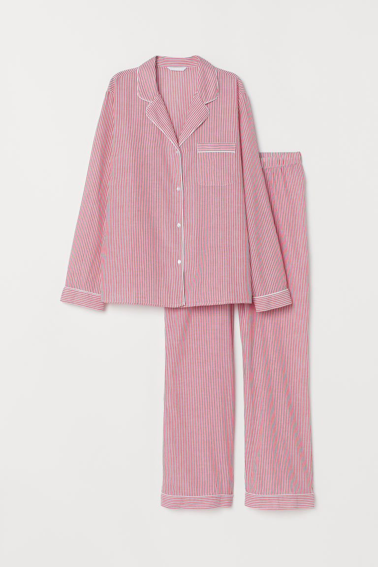 Pyjama shirt and bottoms - Red/Striped - Ladies | H&M