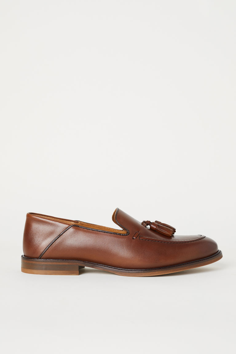 Tasselled leather loafers - Brown - Men | H&M