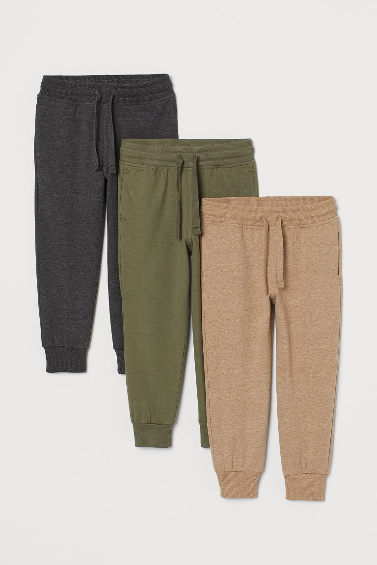 3-pack joggers - Khaki green - Kids | H&M IE