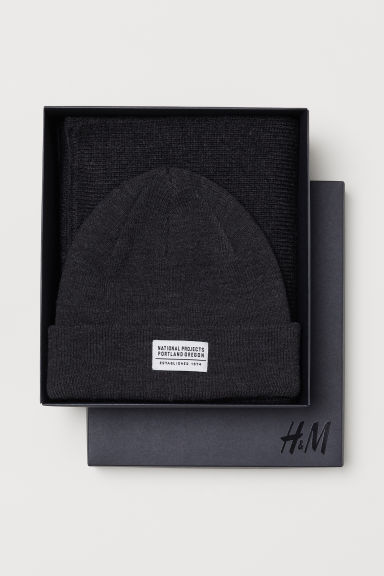 Hat and scarf - Dark grey marl - Men | H&M CN