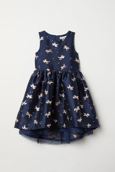Jacquard-weave dress - Dark blue/Unicorn - Kids | H&M