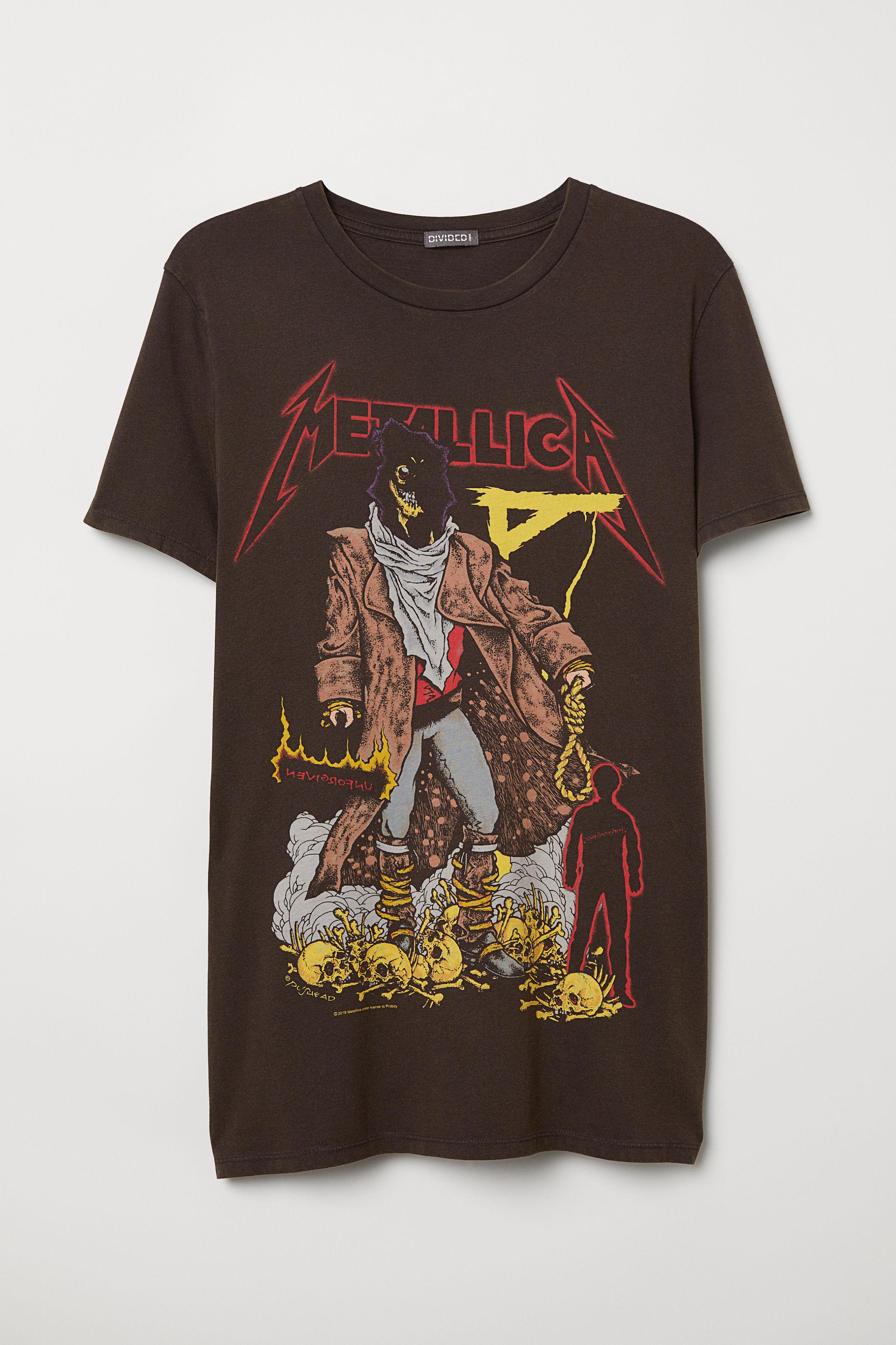 0ef26c43 Cotton Jersey T-shirt - Black/Metallica - Men | H&M CA