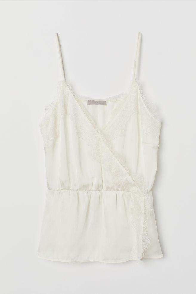 818cb55812e594 ... Satin Camisole Top with Lace - Cream - Ladies