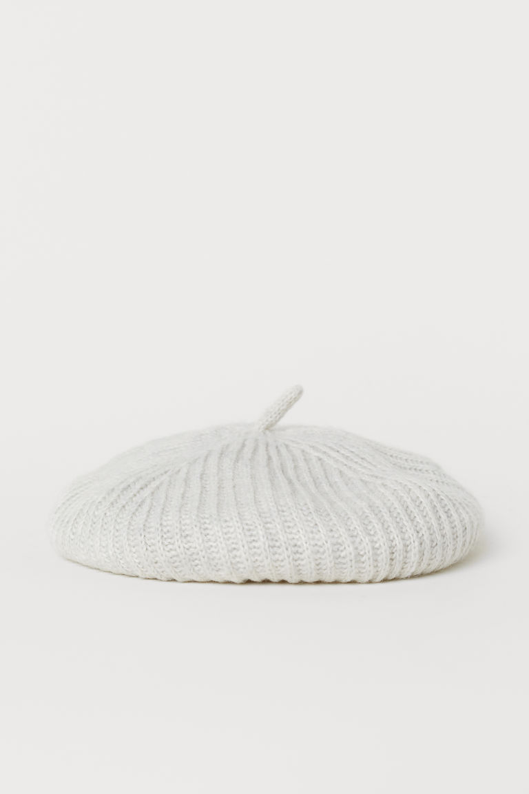 Textured-knit beret - Light grey marl - Ladies | H&M