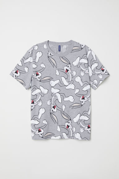 T-shirt with a motif - Grey/Bugs Bunny - Men | H&M IE