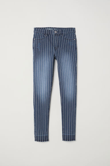 Twill trousers Skinny Fit - Dark blue/White striped - Kids | H&M CN
