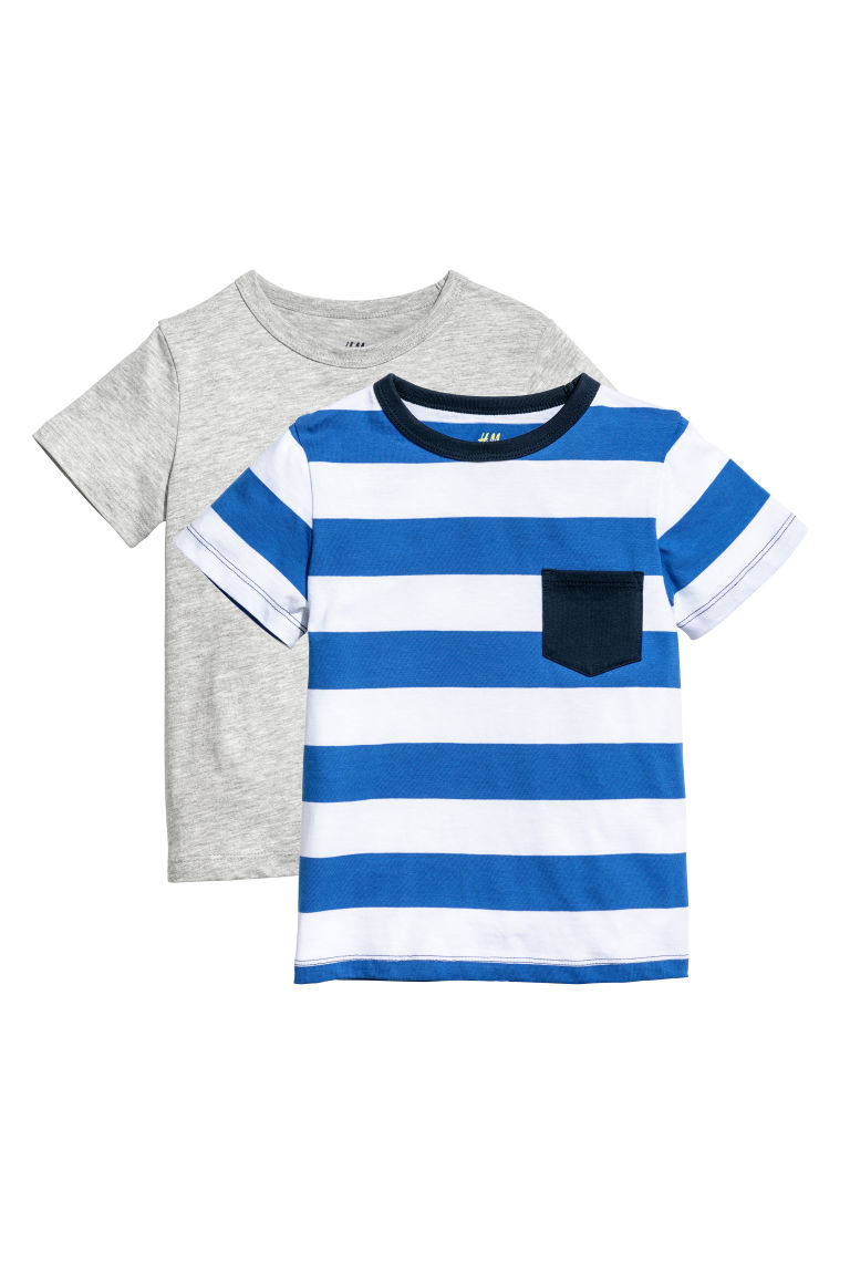 2-pack T-shirts - Grey marl/Blue striped - Kids | H&M