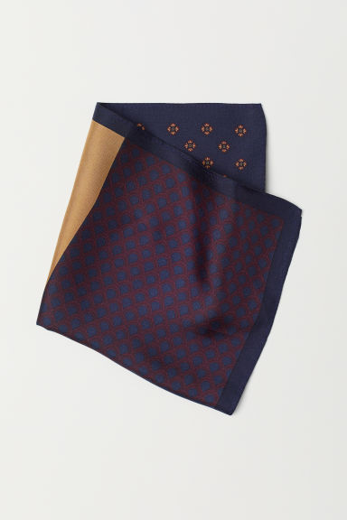 Patterned silk handkerchief - Dark blue - Men | H&M