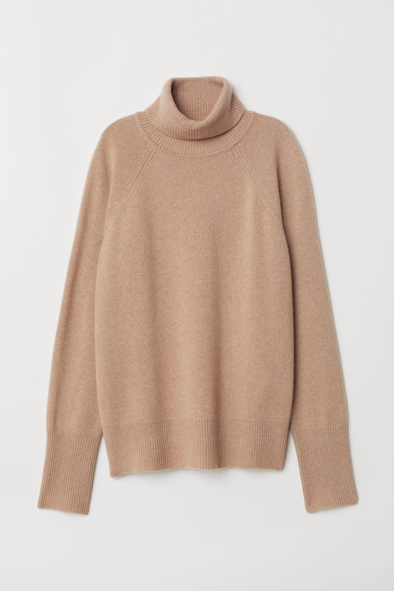 Cashmere polo-neck jumper - Beige marl - Ladies | H&M CN
