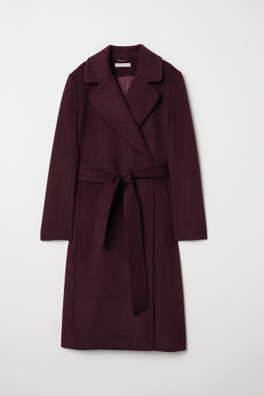 Wool-blend Coat - Burgundy - Ladies | H&M US