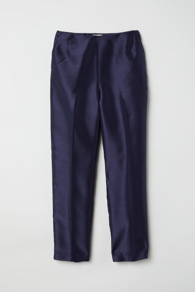Tailored trousers with a sheen - Dark blue - Ladies | H&M