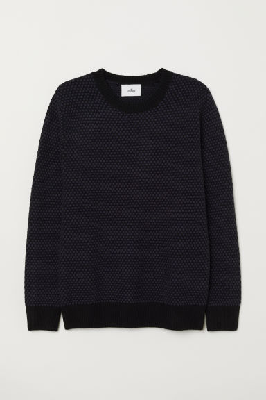 Textured-knit wool jumper - Dark blue/Black - Men | H&M