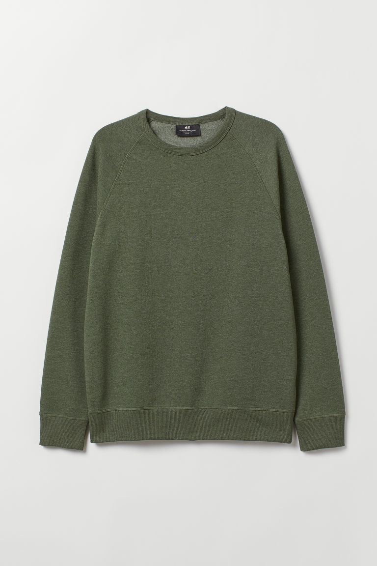 Sweatshirt Regular Fit - Dark khaki green - Men | H&M CN
