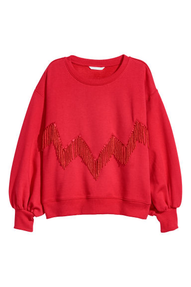 Sweatshirt with beaded fringe - Red - Ladies | H&M CN