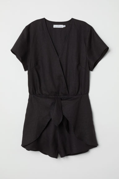 Linen playsuit - Black - Ladies | H&M