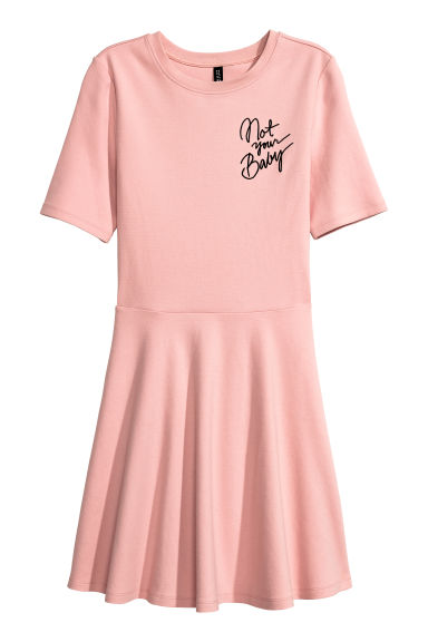 Cotton jersey dress - Powder pink/Not Your Baby - Ladies | H&M CN