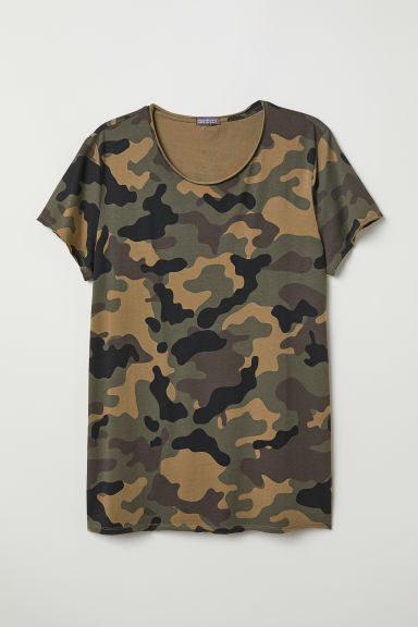 Printed T-shirt - Dark khaki green/Patterned -  | H&M CN