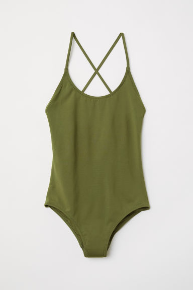 Swimsuit with lacing - Dark green -  | H&M