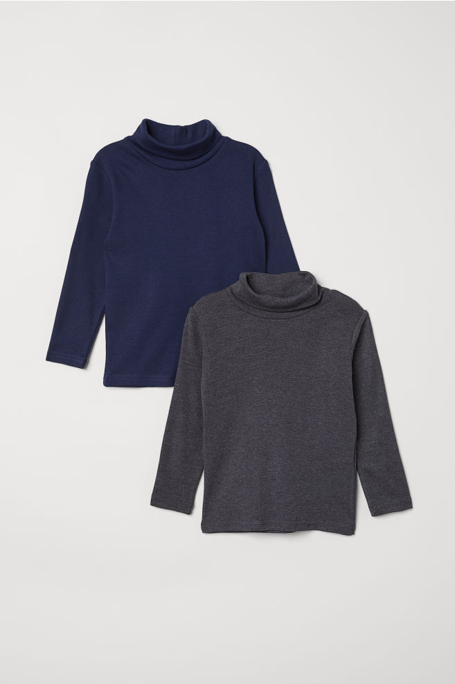 de1cdc8d7 2-pack polo-neck tops - Dark blue - Kids | H&M ...