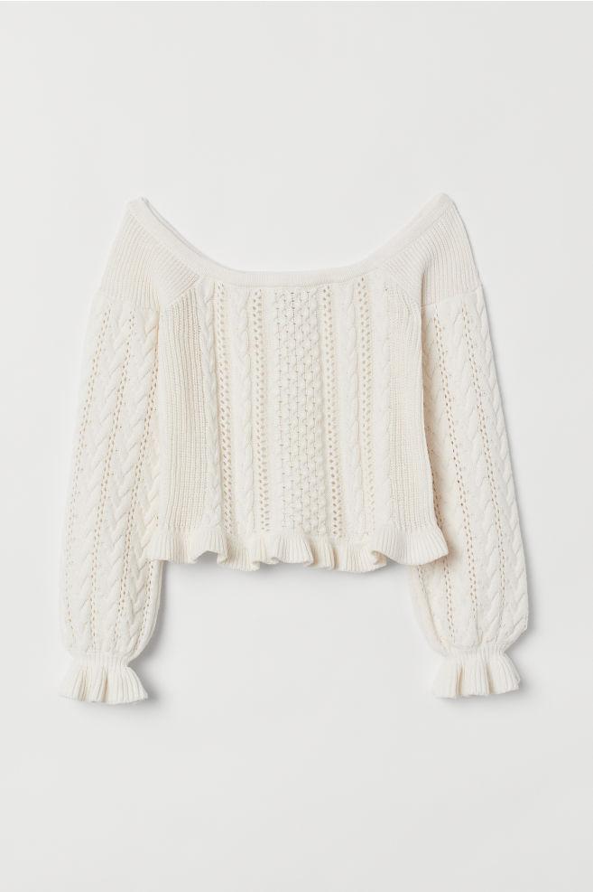e60e9c2381bcb5 ... Off-the-shoulder Sweater - Natural white - Ladies