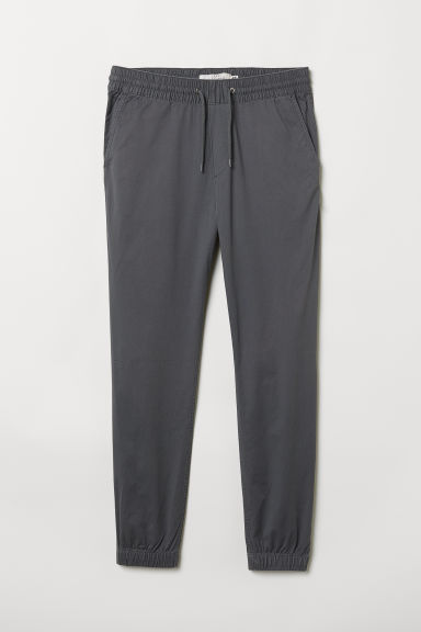 Brushed cotton twill joggers - Grey - Men | H&M CN