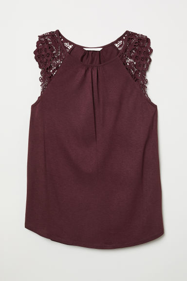 Jersey top with lace - Burgundy - Ladies | H&M