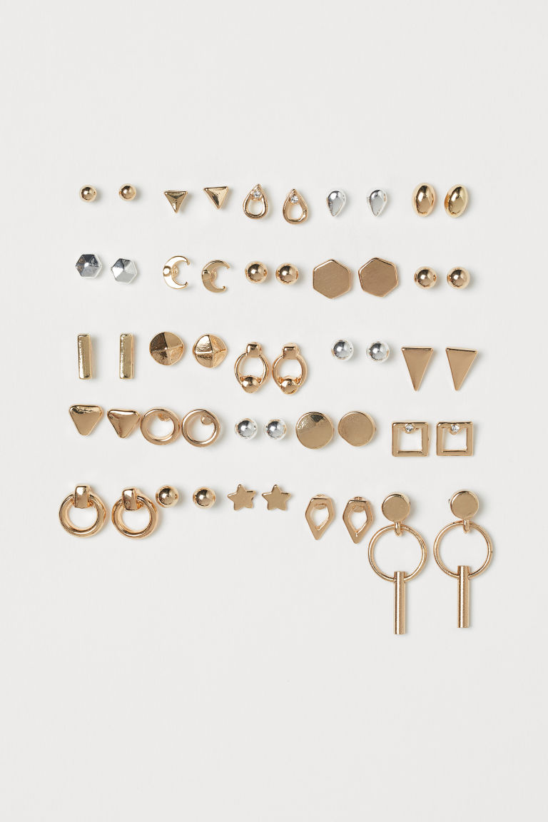 25 pairs Stud Earrings - Gold-colored/silver-colored - Ladies | H&M CA