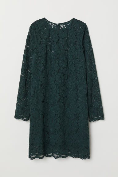 Short lace dress - Dark green - Ladies | H&M