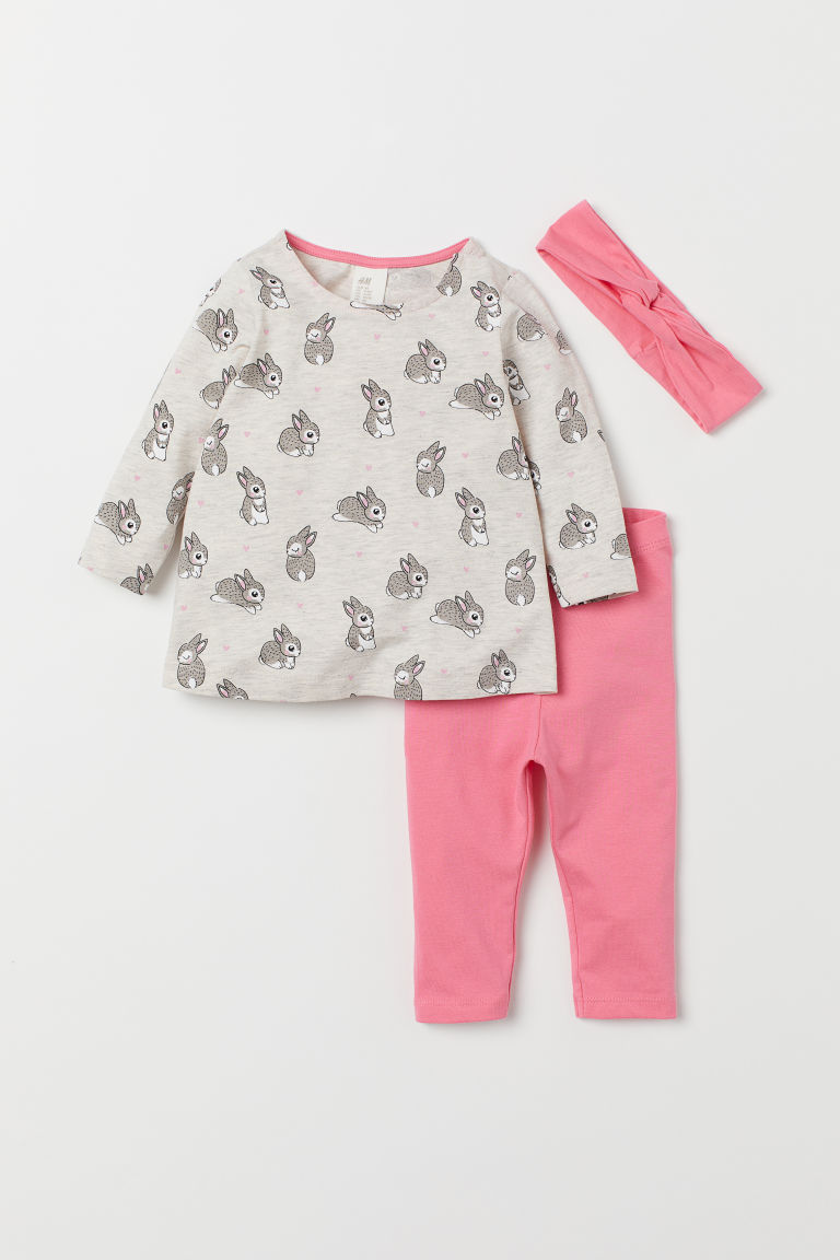 Set in jersey, 3 pezzi - Beige mélange/rosa - BAMBINO | H&M CH