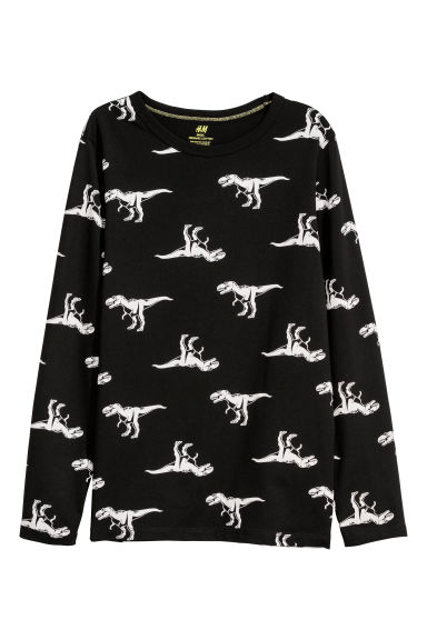 Long-sleeved Jersey Shirt - Black/Dinosaurs - Kids | H&M