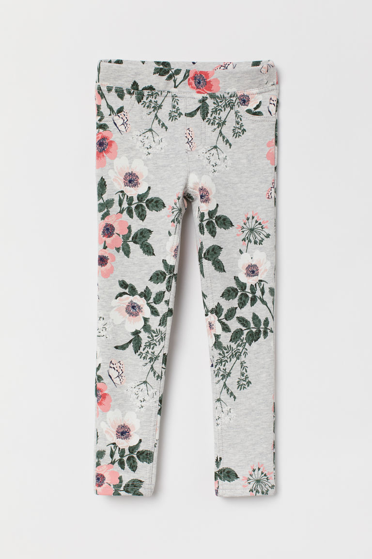 Treggings - Light grey marl/Floral -  | H&M CN