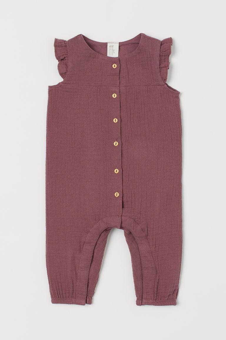 Cotton romper suit - Plum purple - Kids   H&M GB