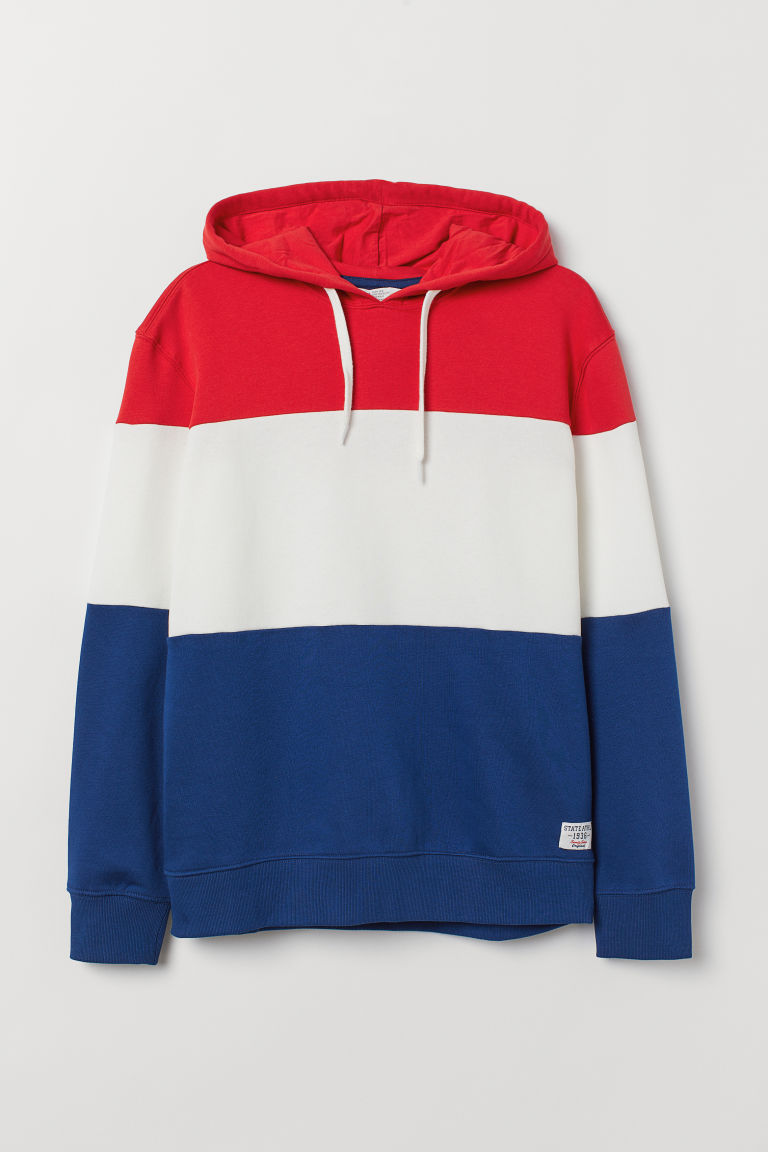 Hooded top - Red/Block-coloured - Men | H&M