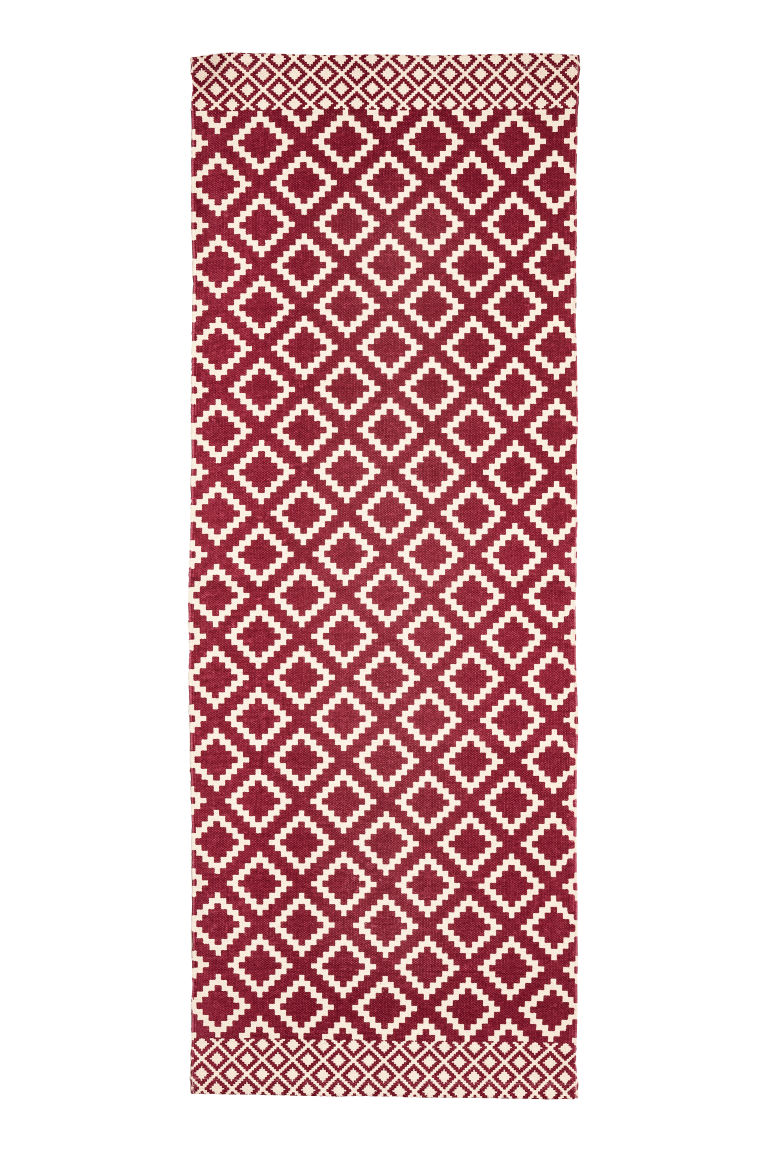 Patterned cotton rug - Natural white/Dark red - Home All | H&M CN