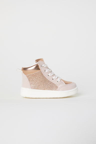 Pile-lined hi-tops - Powder pink/Glittery - Kids | H&M CN