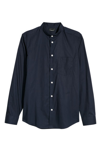 Premium cotton grandad shirt - Dark blue -  | H&M
