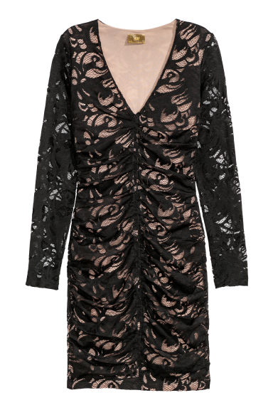 Fitted lace dress - Black - Ladies | H&M