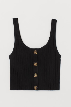 Ribbed vest top with buttons