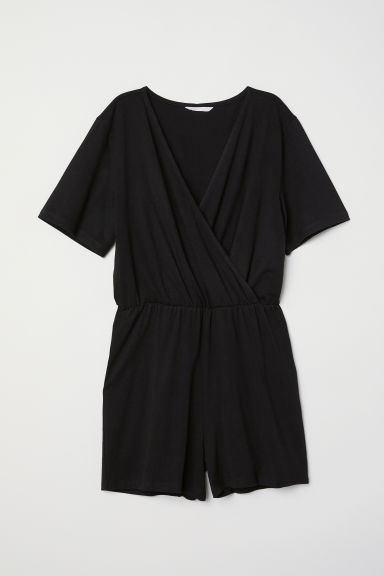 Tricot playsuit - Zwart -  | H&M BE