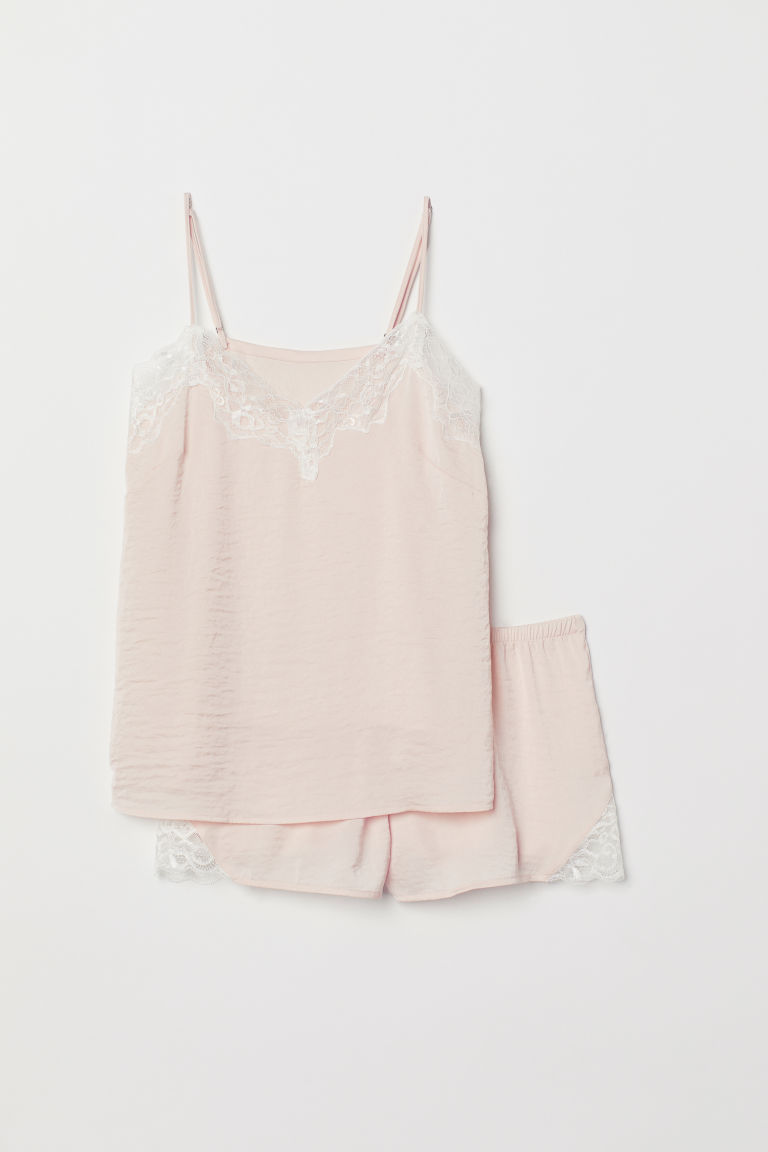Pyjama strappy top and shorts - Light pink - Ladies | H&M