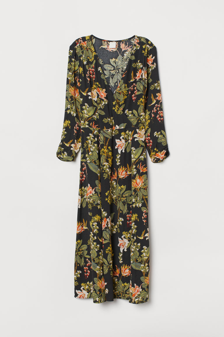 Wrap Dress - Dark gray/floral - Ladies | H&M US