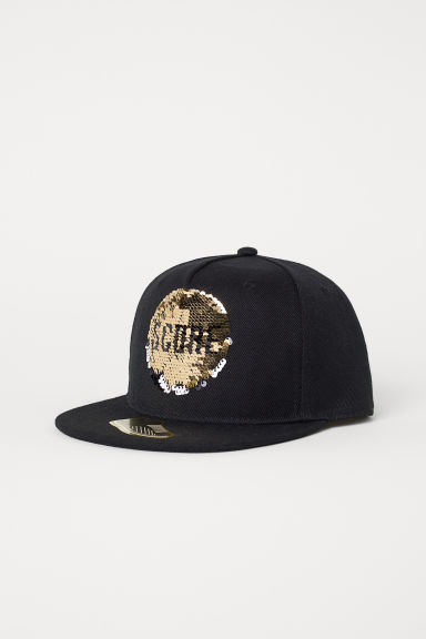 Cap with sequins - Black/Football -  | H&M